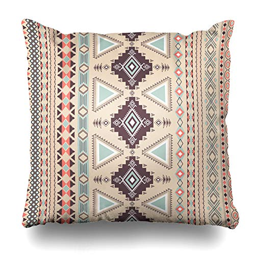 DIYCow Throw Pillow Covers Native Beige Navajo Tribal Striped Geometric Aztec Abstract Brown Pattern Indian Tribe American Home Decor Pillowcase Square Size 20 x 20 Inches Zippered Cushion Case