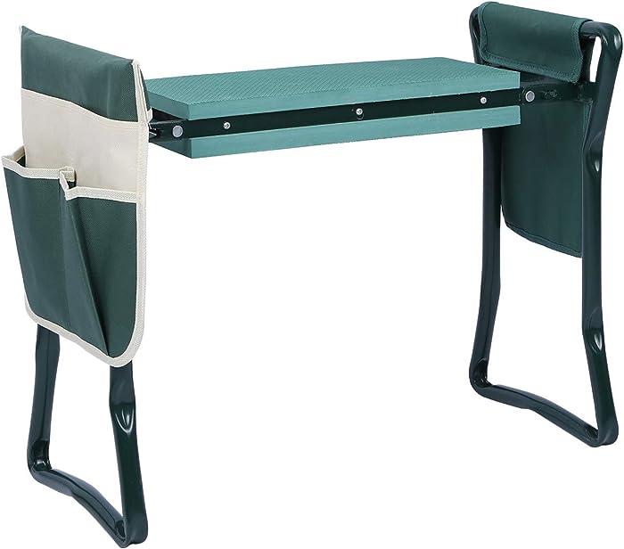 CAMPMOON Foldable Garden Kneeler and Seat Heavy Duty, Lightweight Sturdy Metal Garden Stool for Seniors, Padding Kneeling Bench for Gardening, Green