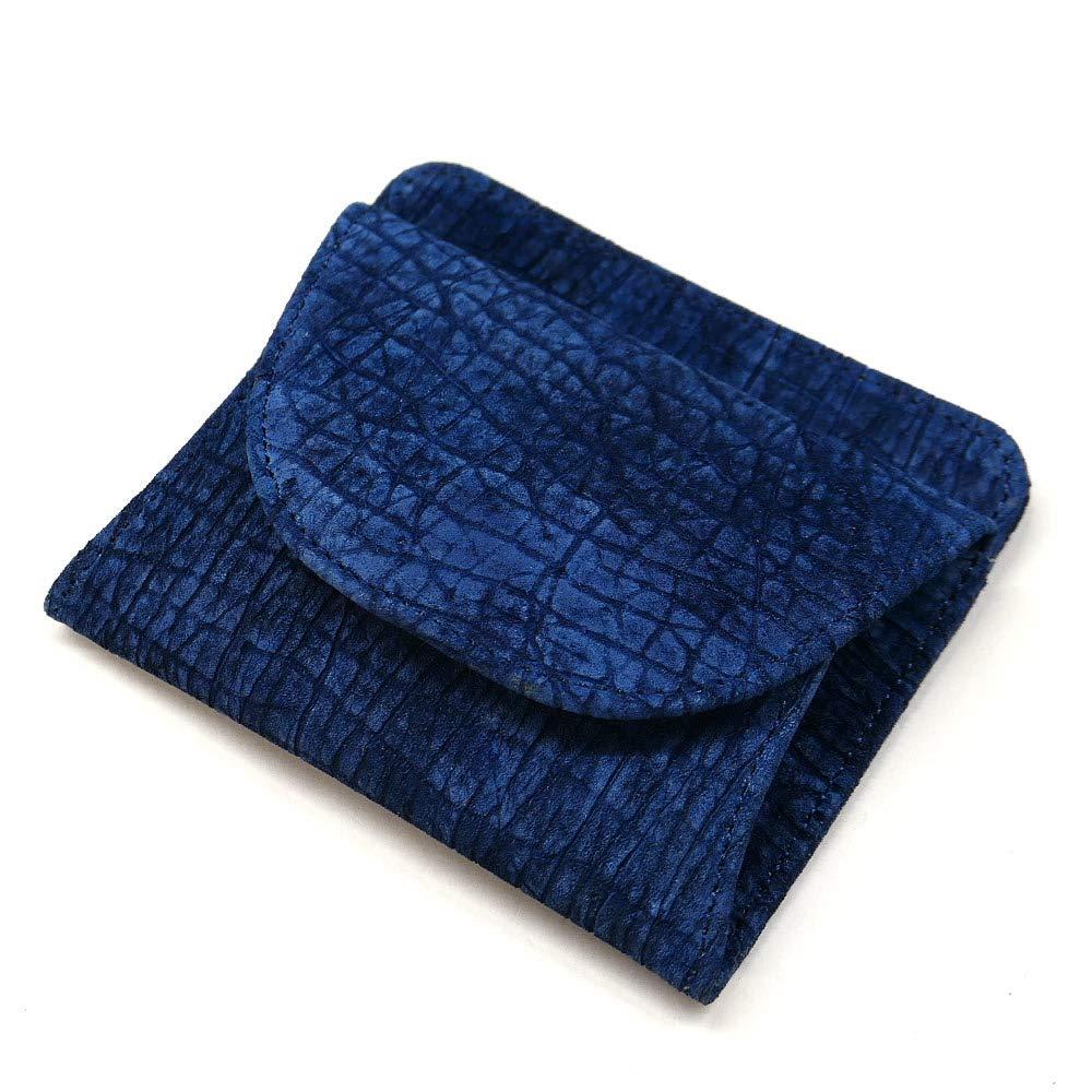 AIZOME-HIPP1000 財布 札入れ ボックス型 小銭入れ付 本革 カバ革 ヒポポタマスレザー 藍染 B07MYQLZV5