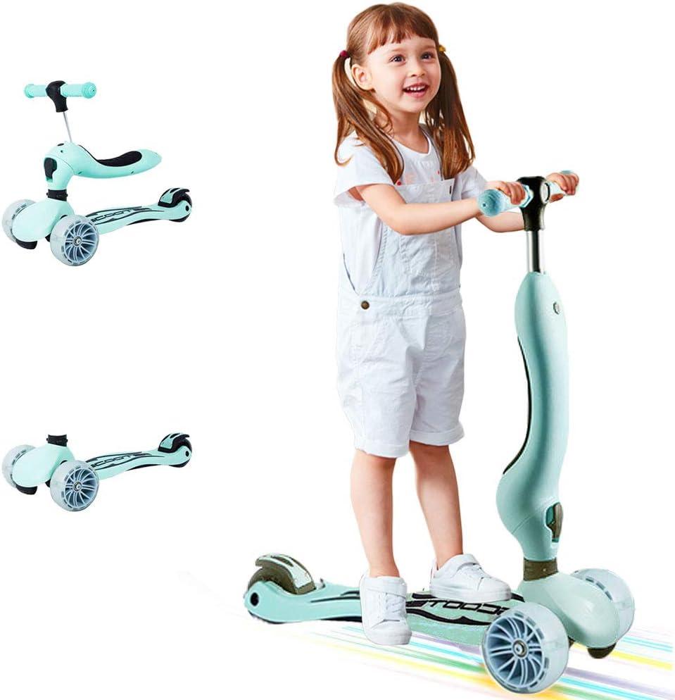Arkmiido Scooter para niños 3 en 1, Scooter para niños con Asientos Plegables, Ruedas extraíbles y Ajustables, Brillantes, para niños Mayores de 2 años (Verde)