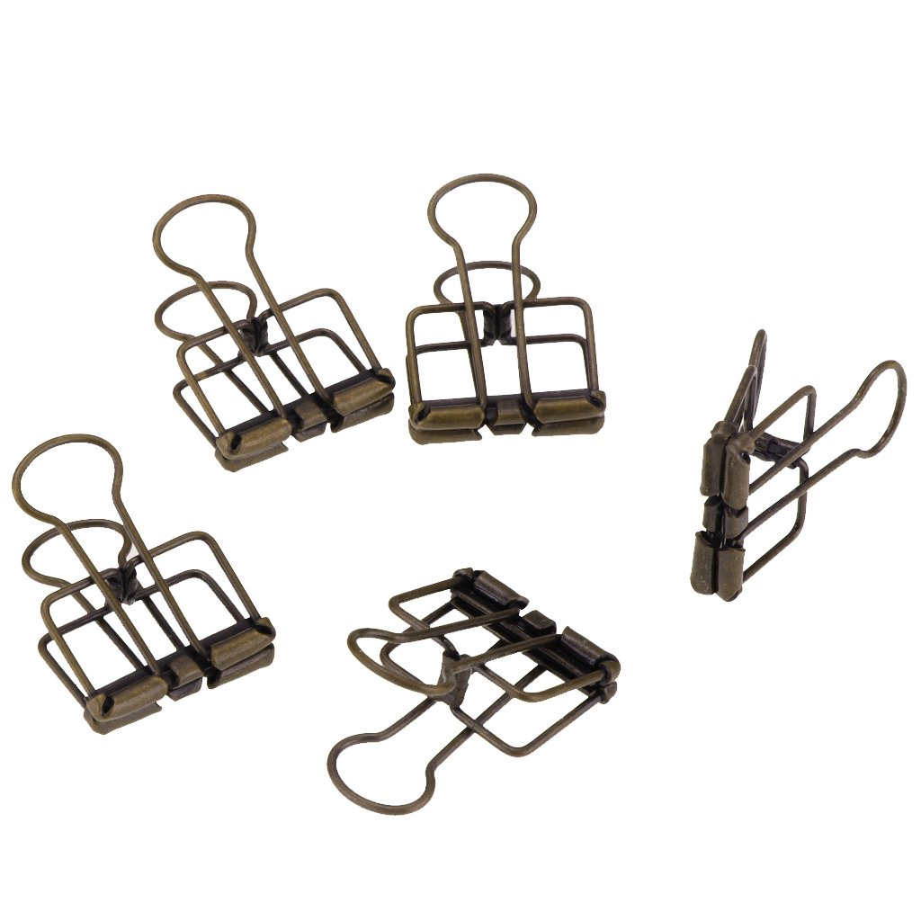 Baoblaze Set of 5 Pieces Metal Wire Binder Clips,Hollow Out Paper Organizer, Paper Binder Clip, Home Office School Supplies - Silver