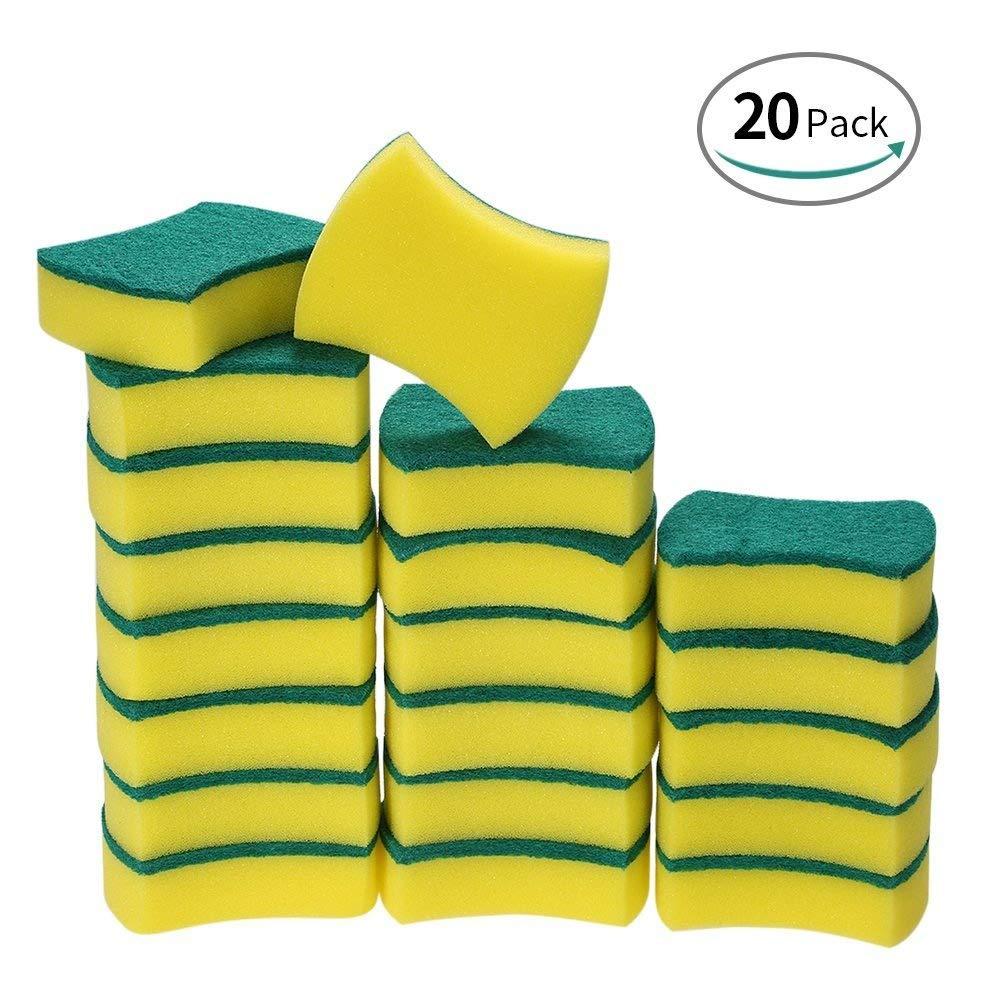 Esonmus 20 Pack Multi-Use Heavy Duty Scrub Sponge Extra Thin Magic Cleaning Sponges Eraser Sponge For Kitchen Bathroom Furniture Leather Car & Steel