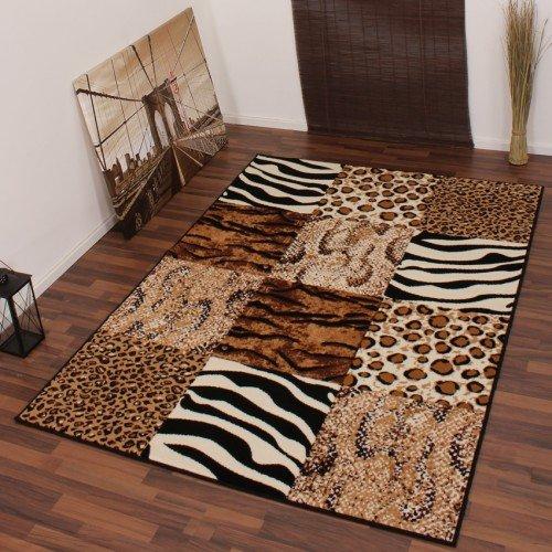 Moderner Designer Teppich Leopard Zebra Muster Beige Schwarz Tiermuster NEU*OVP, Grösse:160x220 cm