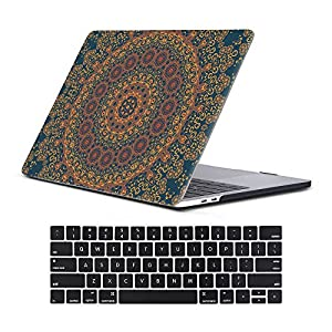 "Macbook New Pro 13"" Case 2017&2016 Release A1706/A1708 Rubberized Hard Shell Case Cover+Keyboard Cover For MacBook Pro 13 W/Without Touch Bar & Touch ID, Vintage Mandala"