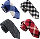 Casual Skinny Neckties for Men Cotton Plaid/Floral Slim Tie TG-003