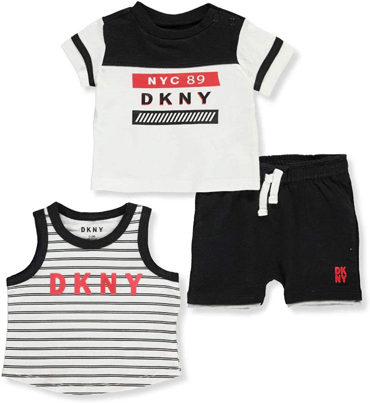 DKNY Baby Boys 3-Piece Shorts Set Outfit