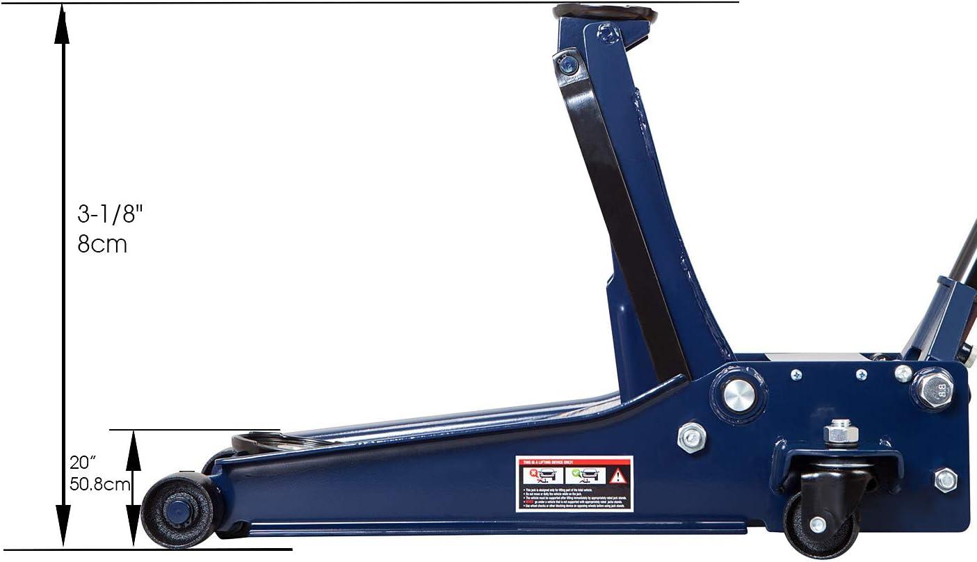 Blue Capacity 3 Ton TCE ATZ830026XU Torin Hydraulic Ultra Low Profile Heavy Duty Steel Service//Floor Jack with Dual Piston Quick Lift Pump 6,000 lb