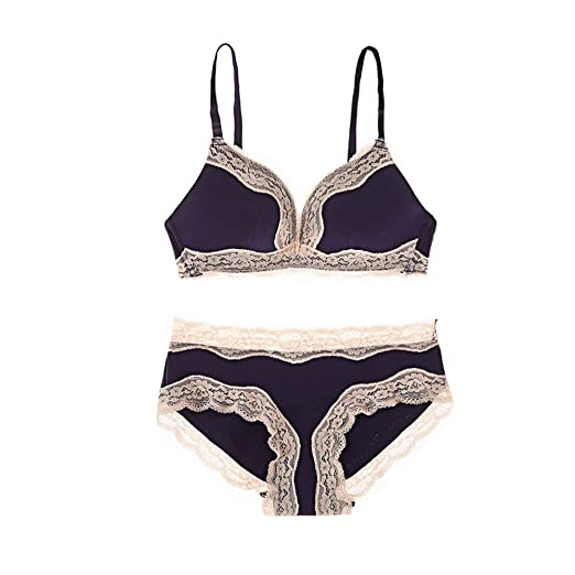 5cda5d084302a 2018 Women Sweet Push up Underwire Bra Panty Set Soft Lace Lingerie Set at  Amazon Women s Clothing store