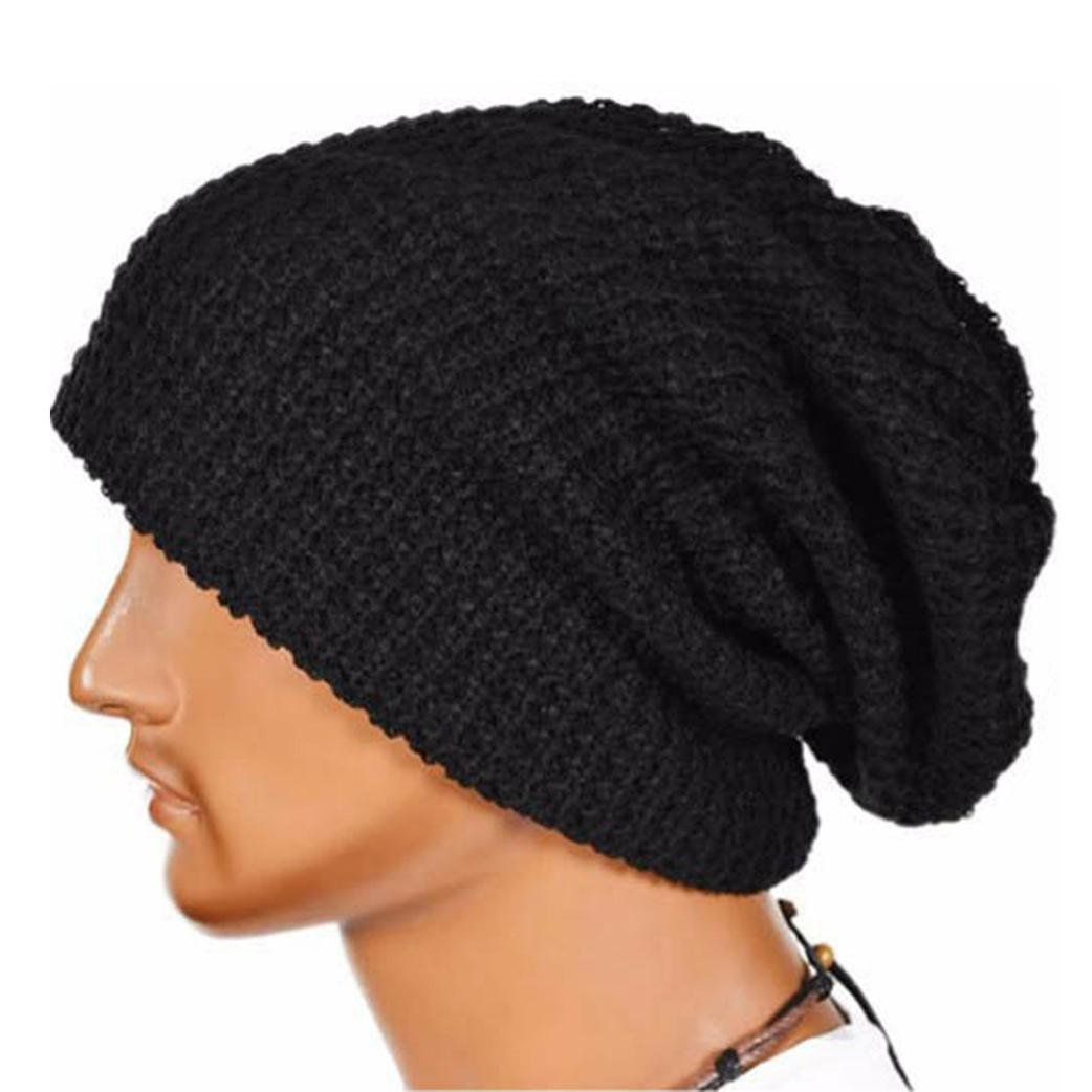 Laimeng Hat, Unisex Winter Warm Knit Ski Beanie Skull Slouchy Cap Hat (Black)