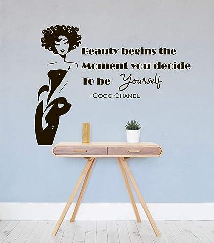 Amazon Com N Sunforest Coco Chanel Quote Wall Decal Wall Decal Quote Beauty Hair Salon Beauty Salon Decor Fashion Decal Chanel Home Decor Beauty Salon Quote Home Kitchen