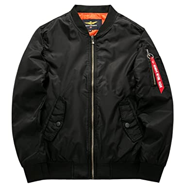 MA-1 Bomber Flight Jacket Reversible Air Force Military Coat with Official Army  Universe Pin MA1JACKET fbfd8116b85