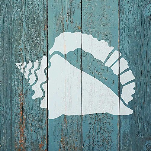 Conch Shell Nautical Stencil - Reusable Stencils for Walls - DIY Home Decor - Trendy Easy DIY Wall Decor - by Cutting Edge Stencils (Small)
