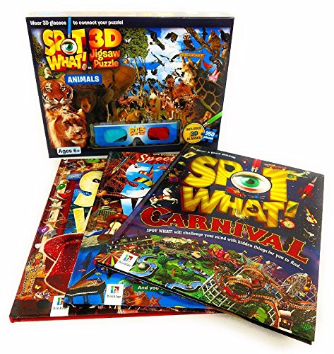 SPOT WHAT! Bonus Pack Including 3 Books And 3D Puzzle With Glasses