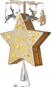 EAMBRITE Christmas Animated Tree Topper Glittering Star Treetop Deer Pulling Sleigh Pendants Christmas Decor