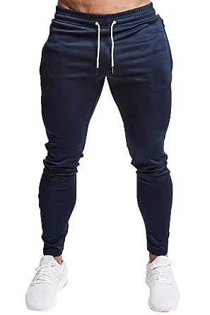 e64d58cdd1818 Hommes Pantalons de Sport Jogging Pantalon Jogger Survêtement Coton Slim  avec Poche Bleu S