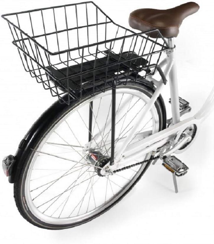 Ducomi Cesta Bicicleta Trasera Universal - Adultos, Niños o Perros (41 x 26 x 20 cm) Cesta Almacenaje de Metal Resistente a Oxidación - Bicicletas Vintage, Holandesas y Urbanas (Trasera): Amazon.es: Deportes y aire libre