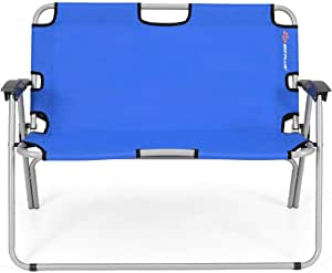 2 Person Folding Camping Bench Portable Loveseat Double Chair for Outdoor - Blue • Parlato Ventures