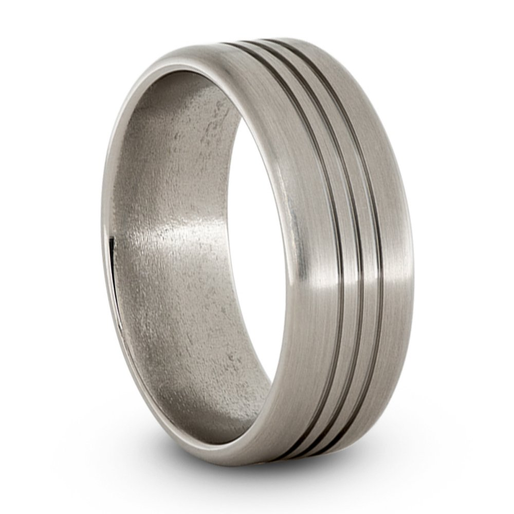 Satin Titanium Triple Grooved 8mm Comfort Fit Pipe Edge Wedding Band, Size 11