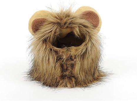 Disfraz de Perro de Halloween, Melena de león Peluca cómodo Gato león del Traje de Halloween Sombrero de la Peluca Diseño de Velcro Oso de Peluche Lindo de la diversión Styling Mascotas: