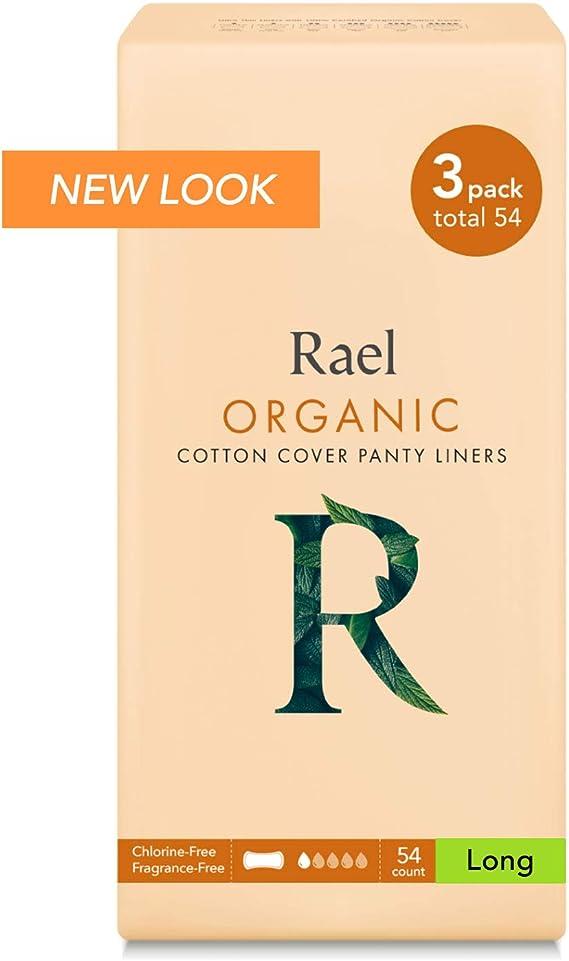 Rael 100% orgánico algodón largo Panty Liners – Unscented – Protegeslips – Natural diario – Protegeslips: Amazon.es: Belleza