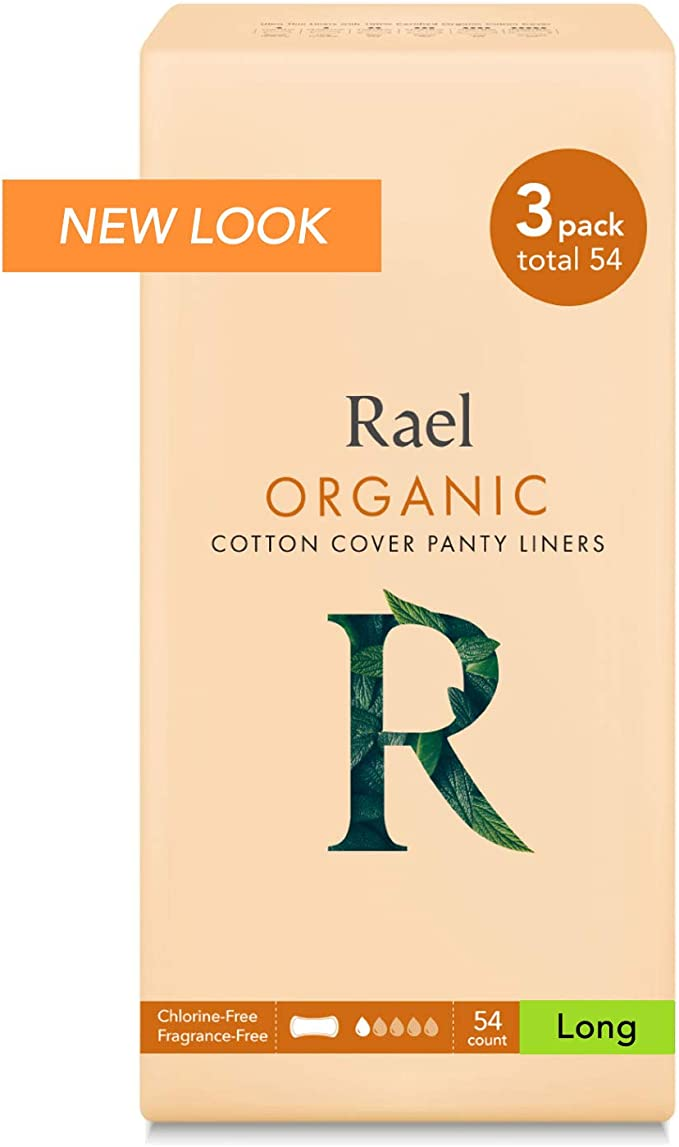 Rael 100% orgánico algodón largo Panty Liners – Unscented ...