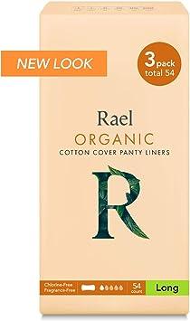Rael 100% orgánico algodón largo Panty Liners – Unscented ...