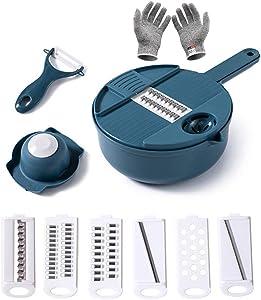 TINEMET Multifunctional Vegetable Cutter with Drain Basket Vegetables Chopper Slicer Kitchen Tool