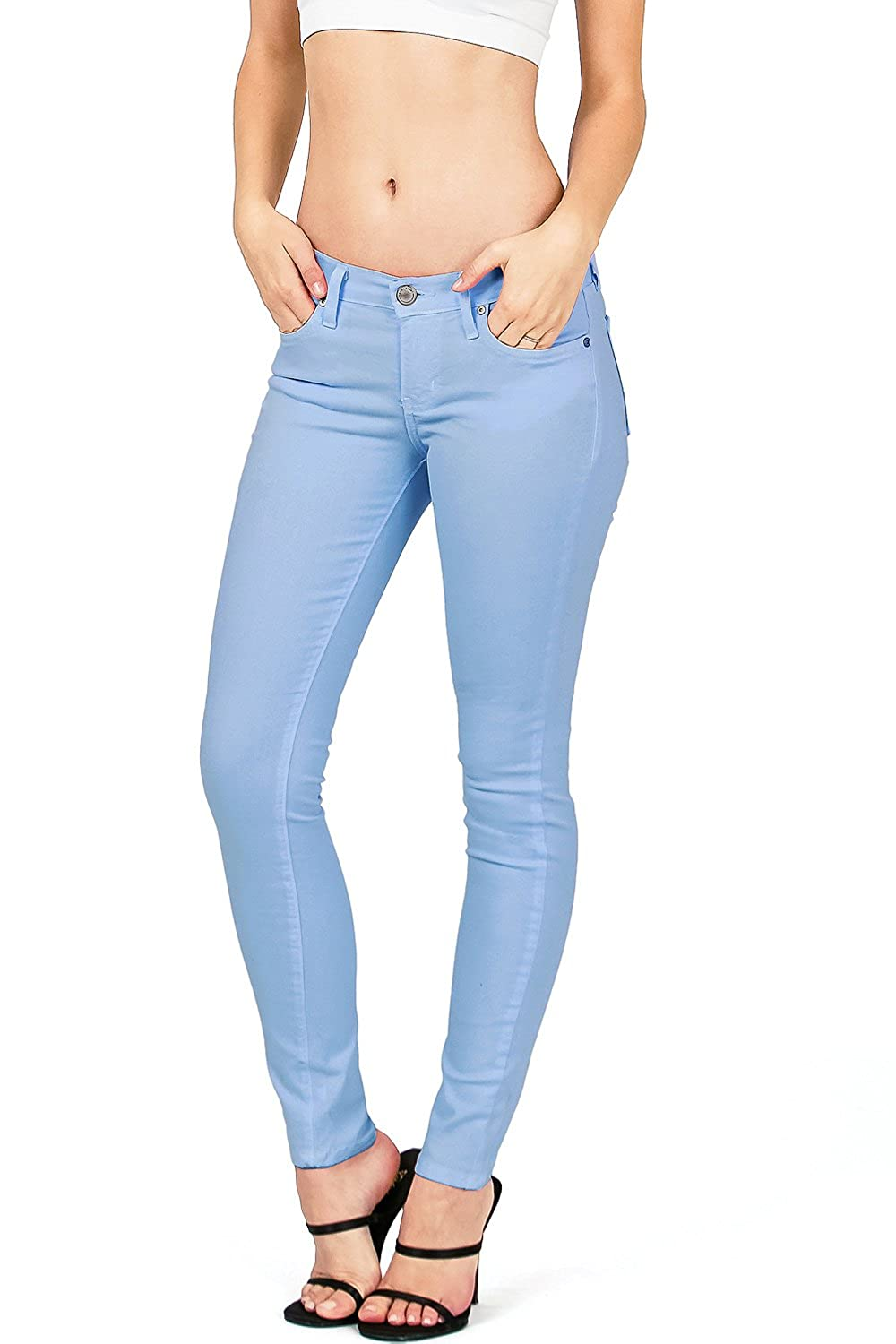 bluee Angry Rabbit by Pink Ice Women's Juniors Mid Waist Skinny colord Jeans