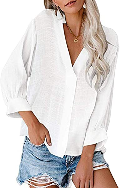 Sisit Chaqueta con Cuello en V y Camisa Plisada, Camiseta de ...
