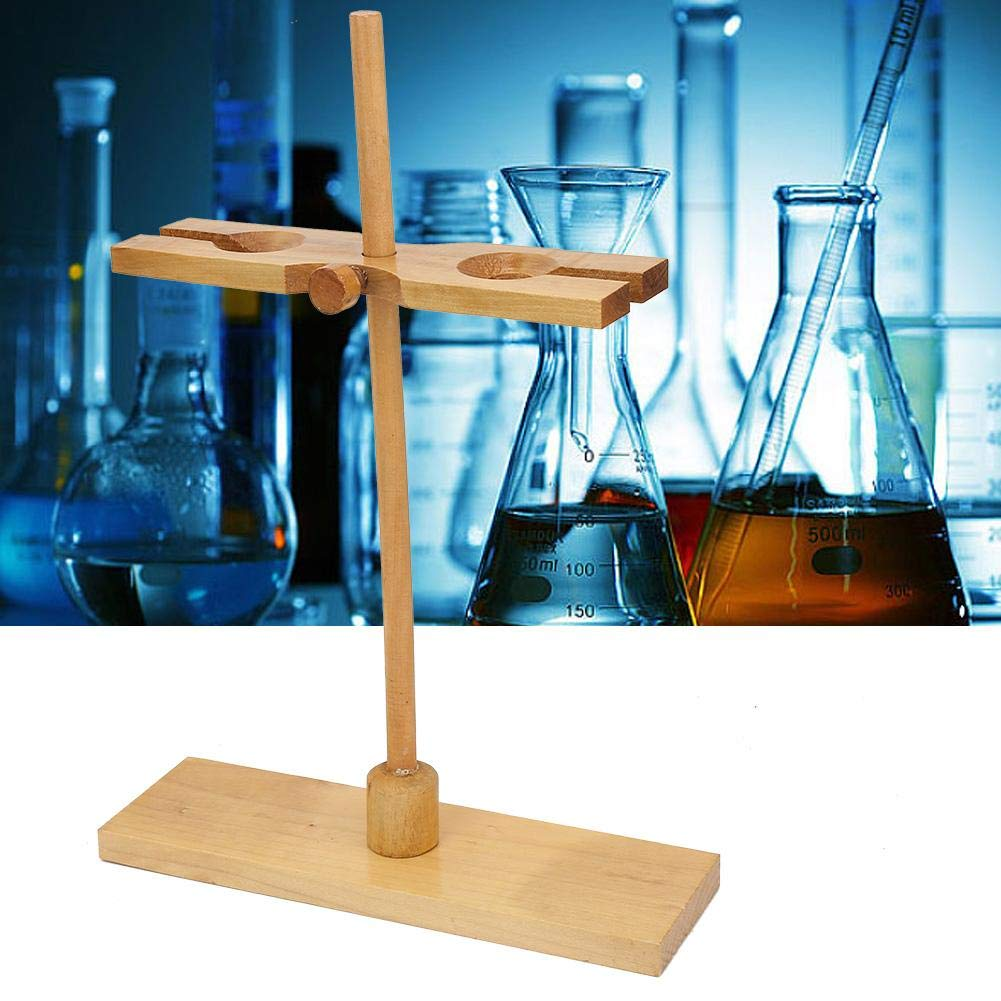 Wooden Funnel Stand Two Holes Adjustable Height Lab Separation Funnel Support Chemical Experimental Apparatus