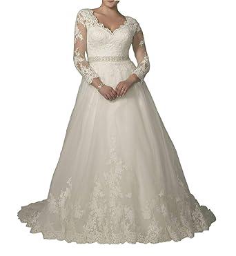 Dreamdress Women s V-Neck Lace Long Sleeve Plus Size Wedding Dress Gowns (4 965c46f57