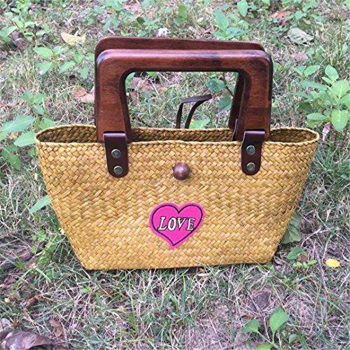 Retro Straw Bag VersióN Tailandesa De Hand-Woven Bolsos De Mano Bordado Iove Hierba Rattan Bag Travel Holiday Bolsa De Playa Love Huang love huang