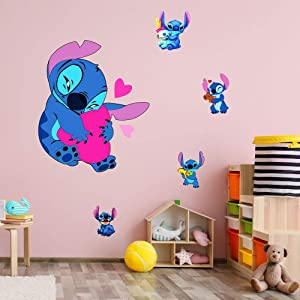 HU SHA Lilo & Stitch Wall Stickers Cartoon Stitch Vinyl Wall Decals Removable Wall Decor for Bedroom, Living Room, Nursery, Kids Bedroom (17.7 x 23.7 inches Size)