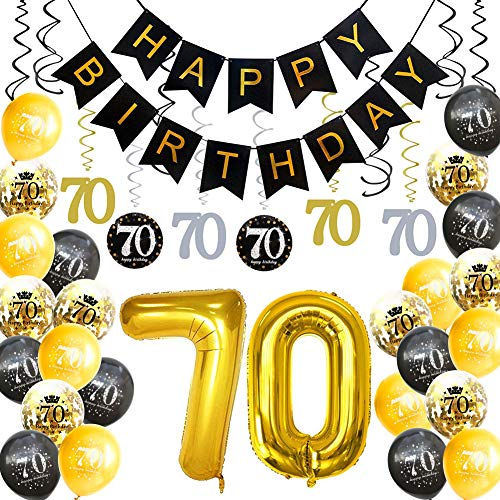 HankRobot 70th Birthday Decorations Party Supplies(42pack) Gold Number Balloon 70 Happy Birthday Banner Latex Balloons(Black, Golden) Confetti Balloons -Great for 70 Seventy Years Old Birthday Party -