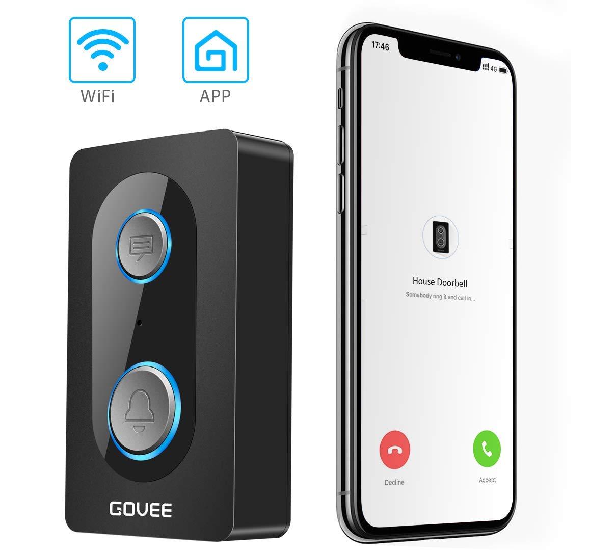 Govee WiFi Audio Doorbell, Two-Way Talk Doorbell with Leave Voice Message Function, IP44 Waterproof Wireless Smart Doorbell Chime for Indoor and Outdoor Use (6 AAA batteries included )