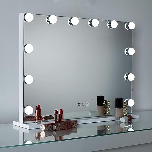 DAYU Hollywood Make up Schminkspiegel mit 12 Beleuchtung LED Licht Beleuchteter Kosmetikspiegel mit Licht Spiegel mit USB für Wohnzimmer,