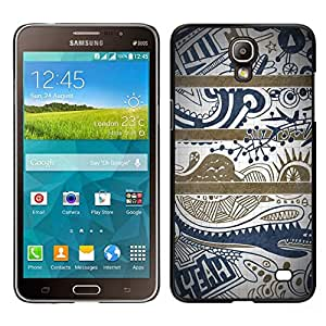 EJOY---Cubierta de la caja de protección para la piel dura ** Samsung Galaxy Mega 2 ** --Texto azul Limpio Modelo bonito