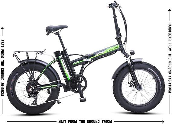Shengmilo Bicicletas Electricas Plegable Bicicleta e-Bike Montaña Electrica e Bike de Ciudad Electrica Adulto Hombre Mujer 500W Moto 48V 20 Pulgadas* 4.0 Fat Neumático Shimano 7 Velocidad: Amazon.es: Deportes y aire libre