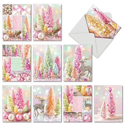 10 Assorted 'Pastel Noel' Christmas Cards with Envelopes 4 x 5.12 inch, Boxed Season's Greetings Cards, Stationery Featuring Mini Pastel Pine Trees Decorated with Pretty Pearls M6714XSG