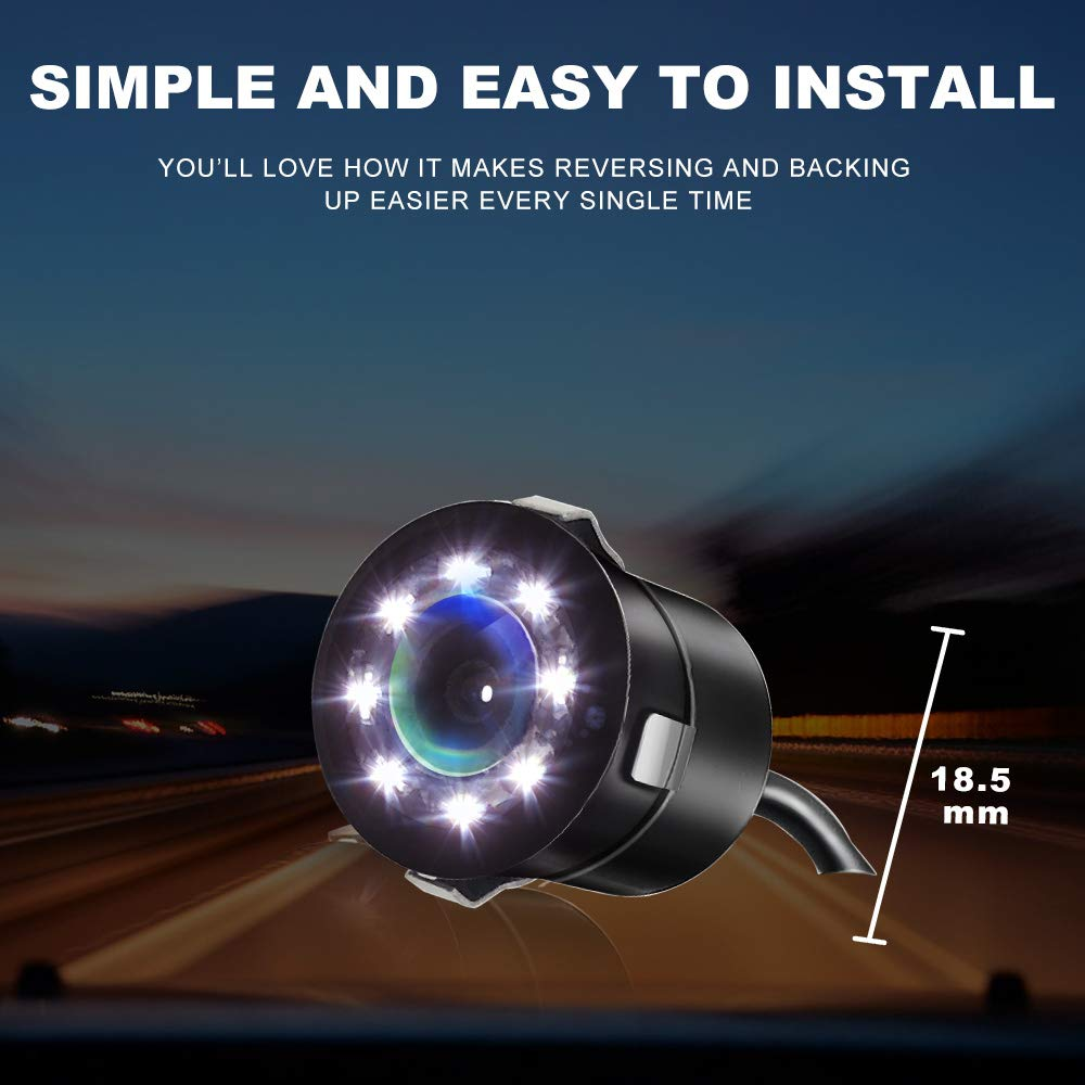 Car Rear View Parking Camera Front View Auto Backup Reverse Backing Camera HD 8 LEDs Night Vision 170/° Wide View Angle Waterproof IP67 for Cars Bus Trucks Circle with Light
