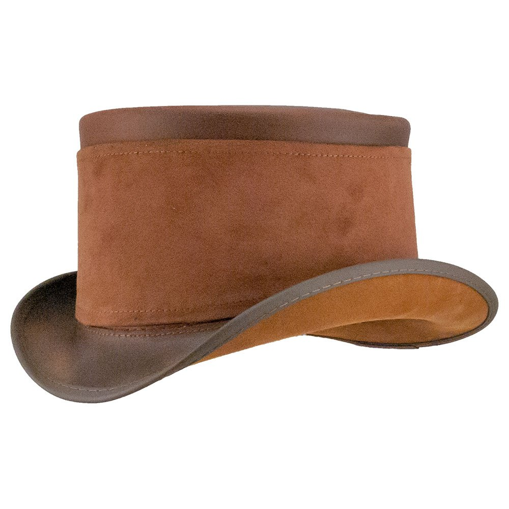 American Hat Makers El Dorado-Brown Suede Hat Wrap by Steampunk Hatter Leather Top Hat, Brown-Suede Hat Wrap - Large