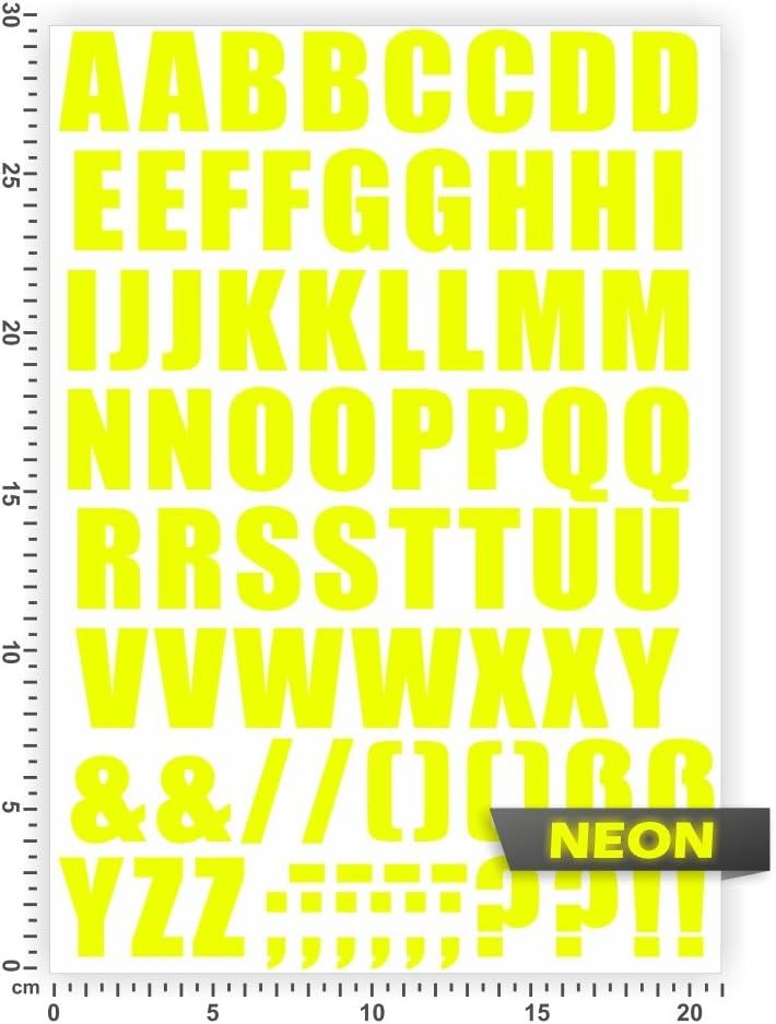 Bogengröße A4 Alphabet Buchstaben Letters Abc In 15 Farben Neon Chrom Sticker Aufkleber Auto