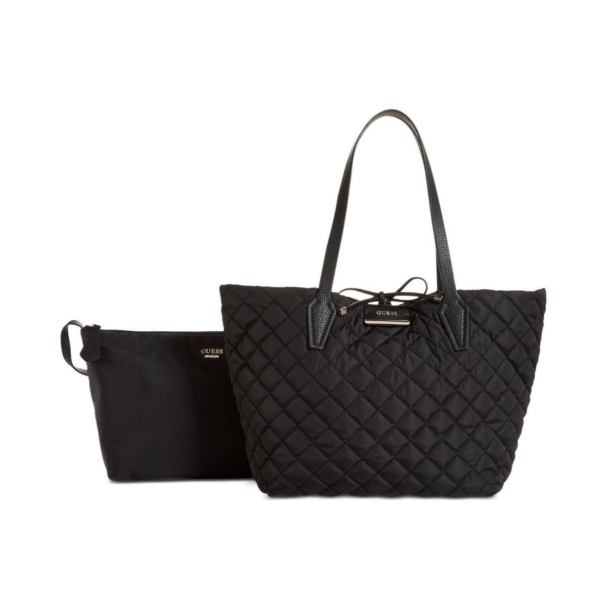 Guess Womens Bobbi Quilted Reversible Tote Handbag Black Large