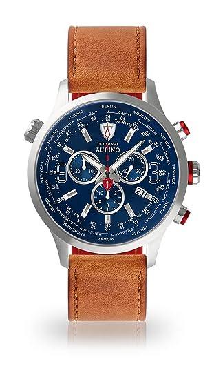 DETOMASO AURINO Reloj Caballero Cronógrafo Analógico Cuarzo marrón Correa de Piel Esfera Azul DT1061-C-822: Amazon.es: Relojes