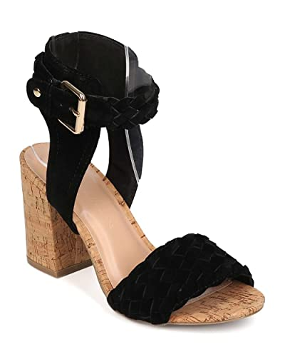 de11cc4f7d0 Wild Diva Women Suede Open Toe Woven Cork Block Heel Sandal EG93 - Black  (Size