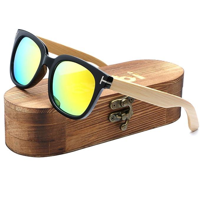 fd2540d43ca Ablibi Mens Womens Bamboo Wooden Sunglasses Polarized Coating Lenses Eyewear  In Wood Box (Black