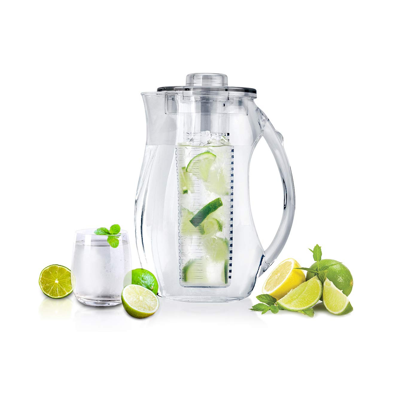 Infuze H2O Water Infuser Pitcher Fruit Infusion Flavor Jug 3+ Liter / 1 Gallon Largest 3 Gallon Spa Drinks Tea BPA free