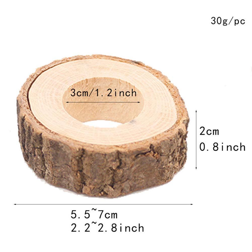 Lot de 10 anneaux de serviette rustiques en bois pour d/écoration de table de mariage 10pcs Voir image