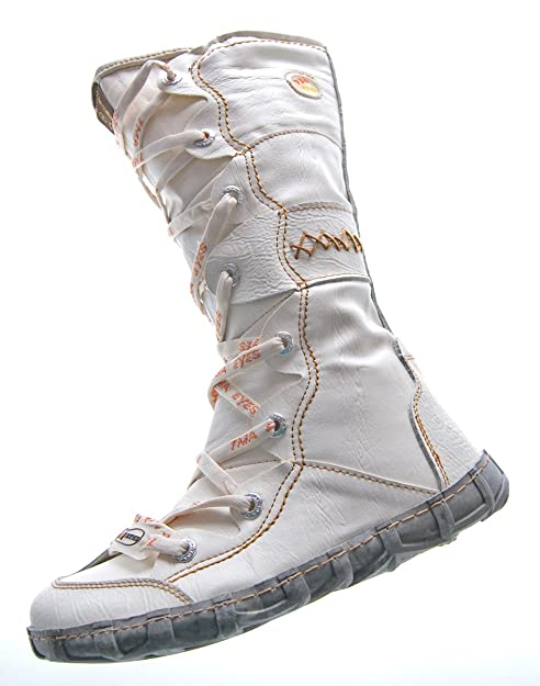 sports shoes 47469 b851d TMA Leder Stiefel Damen Winter Schuhe gefüttert Schwarz Weiß Grün Gelb Rot  Braun Blau im Used Look