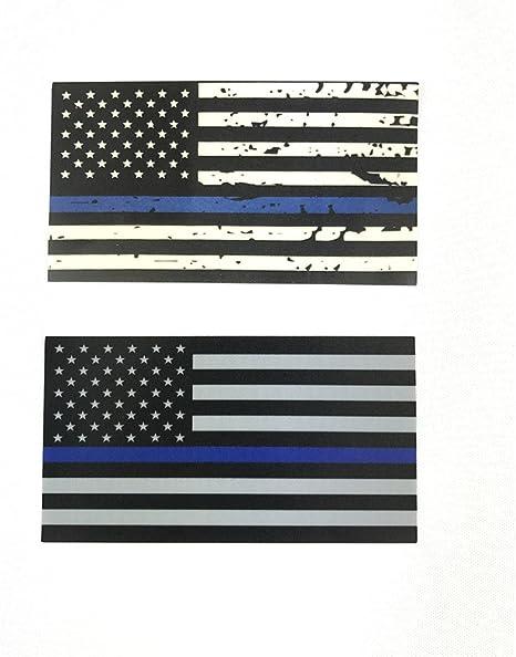 10 unidades de delgada línea azul Policía oficial la bandera americana y Blueline banderas Tattered fina línea azul vinilo adhesivo 4.5